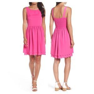 Eliza J Pink Scalloped Hem Dress